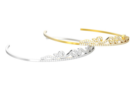 3D illustration isolated two gold and silver simple diamond tiaras diademas on a white background
