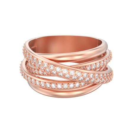 3D illustration isolated rose gold decorative diamond criss cross ring on a white background