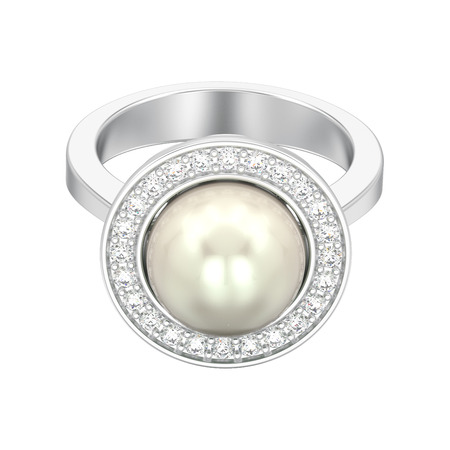 3D illustration isolated silver diamond engagement wedding ring with pearl on a white background