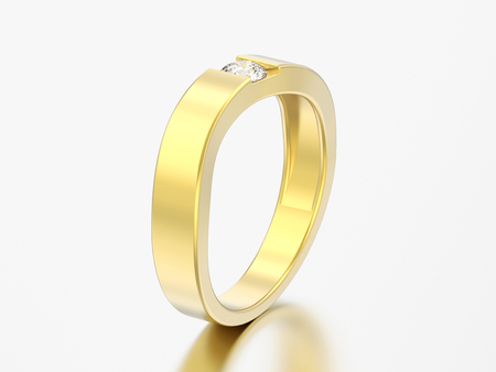 3D illustration illusion modern bent gold ring with diamond on a grey background