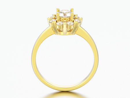 3D illustration gold halo wedding diamond ring with heart prongs on a grey background
