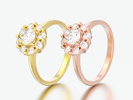 3D illustration two rose and yellow gold halo wedding diamond rings with heart prongs on a grey background