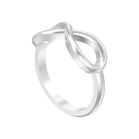 3D illustration isolated silver simple infinity ring on a white background
