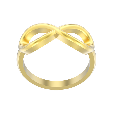 3D illustration isolated gold simple infinity ring on a white background