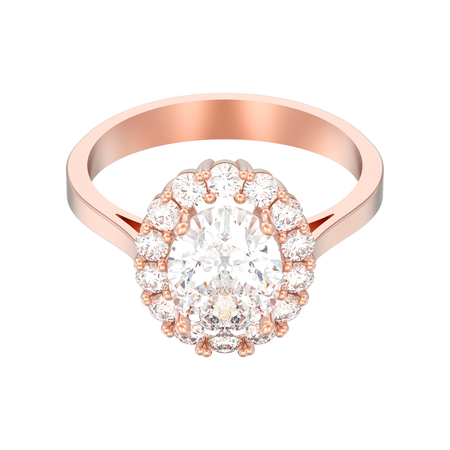 3D illustration isolated rose gold oval halo diamond engagement wedding ring on a white background Stock Photo