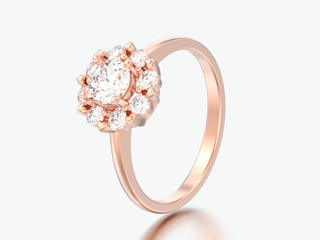 3D illustration rose gold halo wedding diamond ring with heart prongs on a grey background