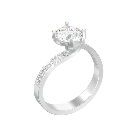 3D illustration isolated silver engagement illusion twisted diamond ring on a white background
