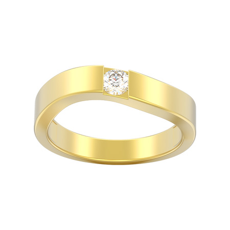 3D illustration isolated illusion modern bent gold ring with diamond on a white background Stok Fotoğraf