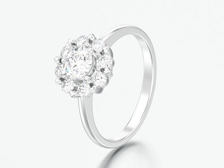 3D illustration sulver halo wedding diamond ring with heart prongs on a grey background Фото со стока - 102289105
