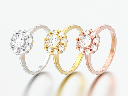 3D illustration three rose and yellow gold and silver  halo wedding diamond rings with heart prongs on a grey background Stock Photo