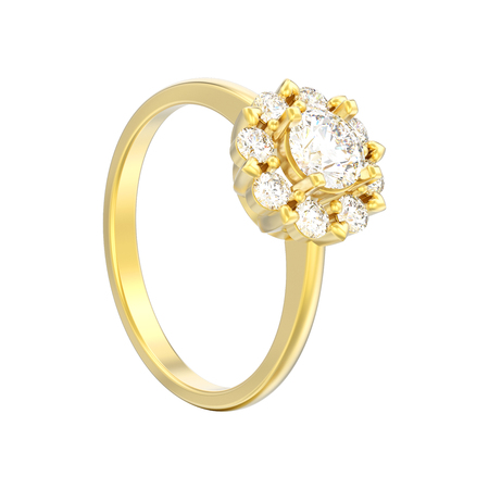 3D illustration isolated gold halo wedding diamond ring with heart prongs on a white background