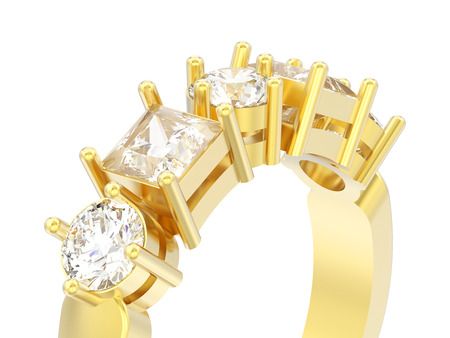 3D illustration isolated close up gold decorative ring with different round and square diamond on a white background