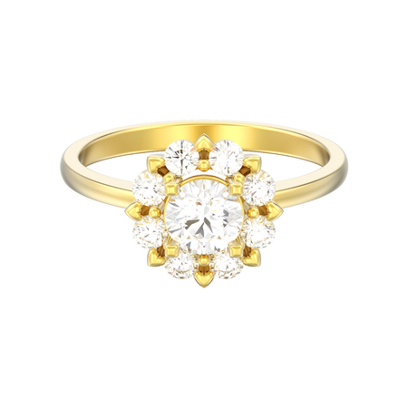 3D illustration isolated gold halo wedding diamond ring with heart prongs on a white background Фото со стока - 102378145