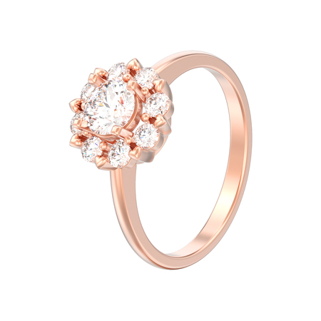 3D illustration isolated rose gold halo wedding diamond ring with heart prongs on a white background Stock Photo