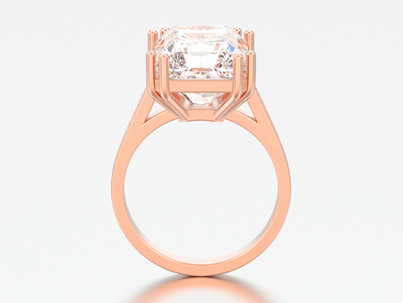 3D illustration rose gold traditional solitaire engagement diamond ring with radiant diamond on a grey background