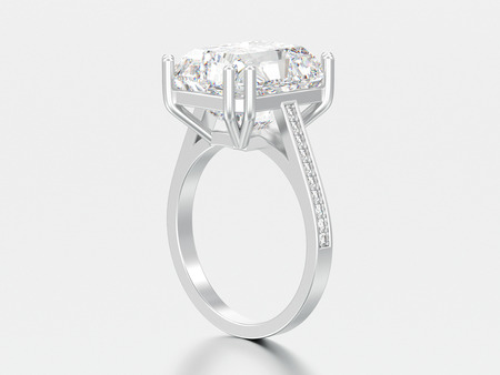 3D illustration silver traditional solitaire engagement diamond ring with radiant diamond on a grey background