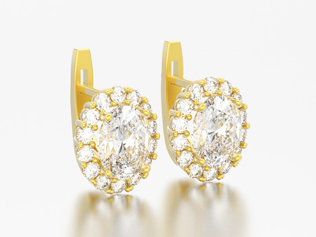 3D illustration gold diamond earrings with oval gemstone with hinged lock on a grey background Stock Photo