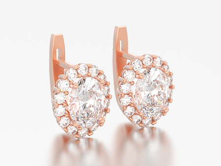 3D illustration rosegold diamond earrings with oval gemstone with hinged lock on a grey background