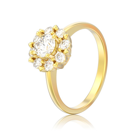 3D illustration isolated gold halo wedding diamond ring with heart prongs with reflection on a white background