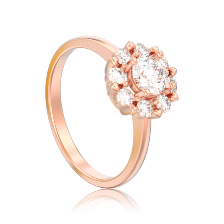 3D illustration isolated rose gold halo wedding diamond ring with heart prongs with reflection on a white background