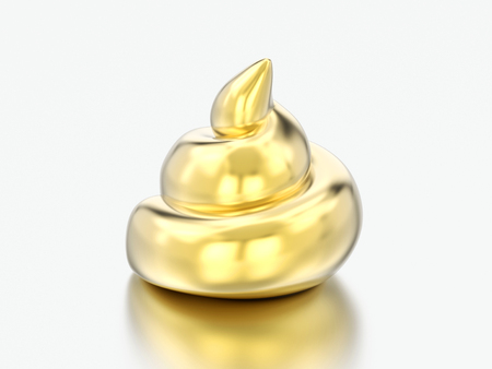 3D illustration gold poop shit on a grey background