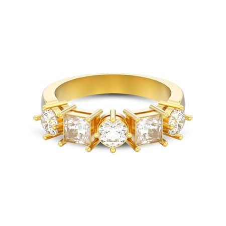 3D illustration isolated yellow gold decorative ring with different round and square diamond with shadow on a white background