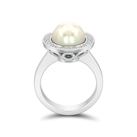 3D illustration isolated silver diamond engagement wedding ring with pearl with shadow on a white background