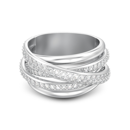 3D illustration isolated silver decorative diamond criss cross ring with shadow on a white background Banque d'images