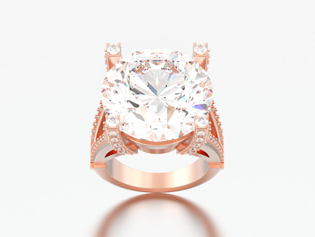 3D illustration rose gold solitaire engagement decorative diamond ring on a grey background Stock Photo