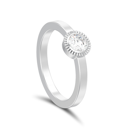 3D illustration isolated silver wedding solitaire round diamond bezel ring with shadow on a white background