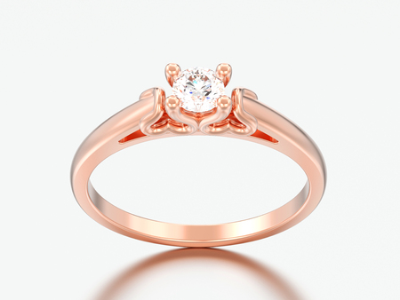 3D illustration rose gold solitaire wedding diamond ring with heart prongs on a grey background Stock Photo