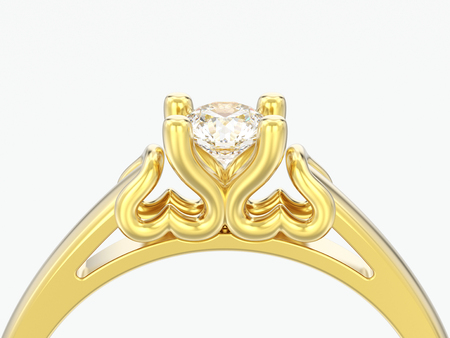 3D illustration close up yellow gold solitaire wedding diamond ring with heart prongs on a grey background Stock Photo