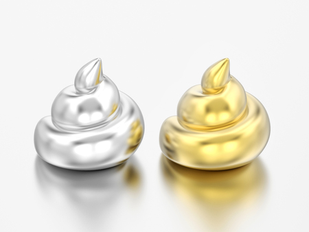 3D illustration two realistic silver and gold chrome poops shits on a grey background