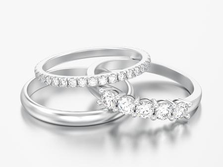 Ilustración 3D tres diferentes anillos de diamantes de oro blanco o plata sobre un fondo gris