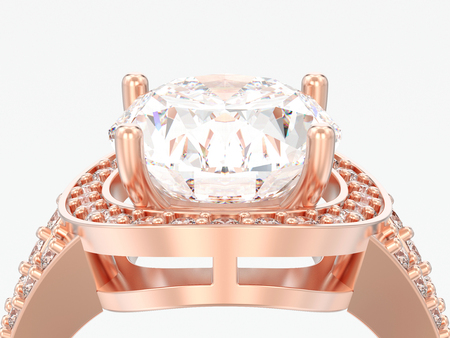 3D illustration close up rose gold solitaire engagement diamond ring on a gray background