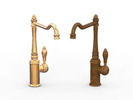 3D illustration two different unsuitable broken rusty vintage old faucet and new cooper faucet on a grey background Stock Photo