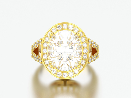 3D illustration gold solitaire engagement decorative diamond ring on a grey background Stock Photo
