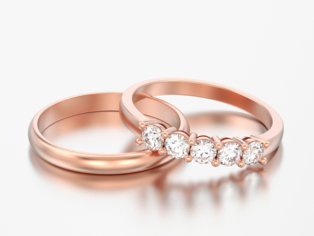 3D illustration two different rose red gold diamonds rings on a grey background Foto de archivo
