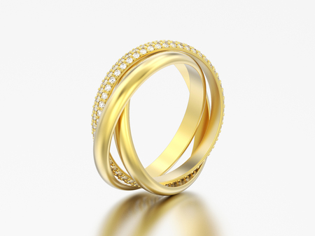 3D illustration yellow gold decorative three in one covered diamond ring on a grey background Stock Photo