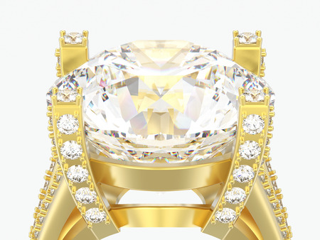 3D illustration close up yellow gold solitaire engagement decorative diamond ring on a gray background