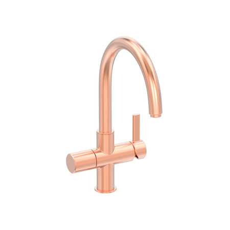 3D illustration isolated rose red gold chrome faucet on a white background on a white background