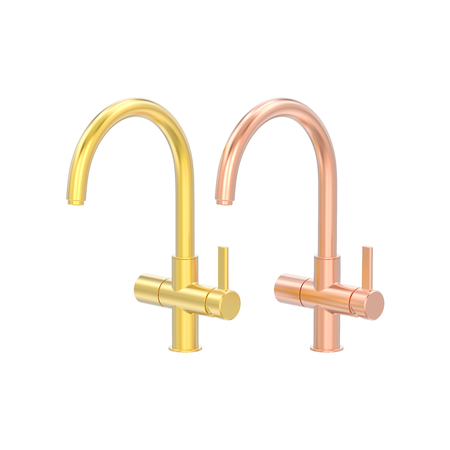 3D illustration isolated two yellow and rose red gold chrome faucet on a white background on a white background Stock Photo