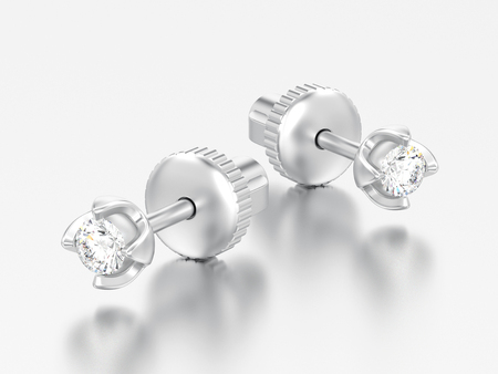 3D illustration two white gold or silver diamonds screw post sterling earrings with reflection on a grey background Banque d'images