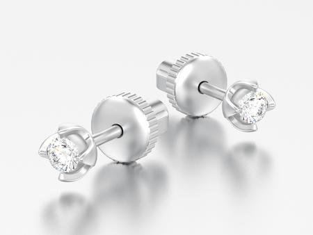 3D-Illustration zwei Weißgold- oder Silberdiamanten-Schraubpfosten-Sterling-Ohrringe mit Reflexion auf grauem Hintergrund
