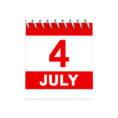 3D illustration isolated 4 four july red and white calendar reminder on a white background