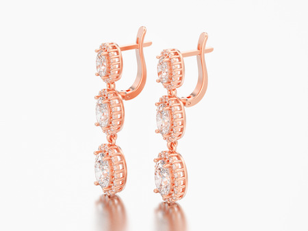 3D illustration jewelry red rose gold diamond earrings with hinged lock on a grey background