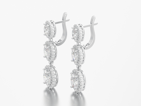 3D illustration jewelry white gold or silver diamond earrings with hinged lock on a grey background