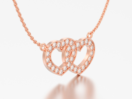 3D illustration jewelry two hearts red rose gold diamond necklace on chain on a grey background Standard-Bild