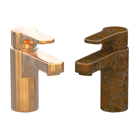 3D illustration isolated two different unsuitable broken rusty vintage old faucet and new cooper faucet on a white background