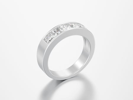 3D illustration simple classic white gold or silver diamond ring on a grey background Zdjęcie Seryjne